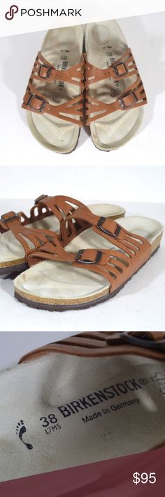 New Birkenstock Granada Soft Footbed Sandals Tan Birkenstock Granada Soft Footbed Sandals  Sandals  New no box, has a small spot on the footbed from being tried on in store  Tan leather buckle strap  Size is 38 or Ladies Size 7 Mens Size 5  Check out my other items for sale in my store! Birkenstock Shoes Sandals & Flip-Flops