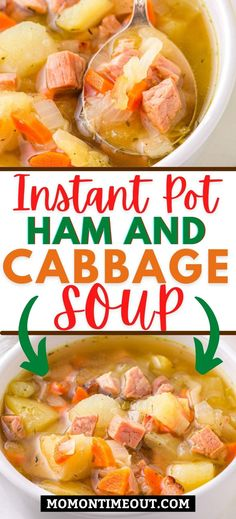 This Instant Pot Ham and Cabbage Soup is a delicious blend of cabbage, ham, potatoes, carrots, onion and celery that is both comforting and satisfying! // Mom On Timeout #instantpotsoup #soup #instantpot #cabbagesoup #ham #souprecipe #dinner Ham And Cabbage Soup, Cabbage And Sausage, Cabbage Soup Recipes, Ham Soup, Crock Pot Soup, Crock Pot Cooking, Pressure Cooker Recipes, Rice Cooker Recipes, Crockpot Recipes