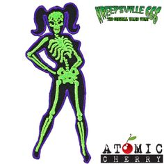 Kreepsville 666 Skeleton Girl Patch Tattoo Rockabilly Punk Pin Up Horror Gothic #Patches