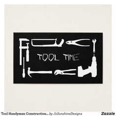 Shop Tool Handyman Construction Black Silver Metal Business Card created by JoSunshineDesigns. Black Silver, Black And White, Silver Metal, Metal Business Cards, Promote Your Business, Things To Come, Construction, Tools, Create