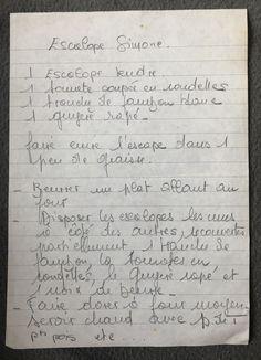 Recettes de famille - Cahier de cuisine familiale - veau - viande - Escalope Simone #cuisine #recettes #veau #viande #escalope Sheet Music, Family Kitchen, Meat, Recipes, Hay, Music Sheets