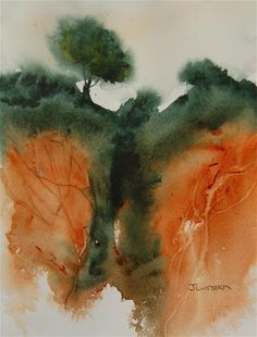 Landscape In Green And Orange, 2018 Jean Lurssen Watercolor Unique Work Size : 11 x 8 x in. Watercolor Face, Easy Watercolor, Watercolor Landscape, Abstract Watercolor, Landscape Paintings, Abstract Art, Landscapes, Watercolor Painting Techniques, Alcohol Ink Painting