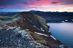 A view from the edge of crater Hnausapollur also called Bláhylur (Blue Pool), in Landmannalaugar peninsula, central highlands of Iceland Iceland Travel, Holiday Iceland, Inspired By Iceland, Iceland Island, Blue Pool, Nature Reserve, Heaven On Earth, Where To Go, Iceland