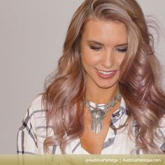 """A beautiful silvery and pastel purple combination! As for how the """"1st Look"""" host achieved this fresh shade, her hair guru Briana Cisneros explains that it took eight hours to transform Drina's coiffe into """"smokey pastel silver, with a champagne blonde and light powdery lilac."""""""