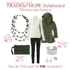 All of the Trades of Hope CHRISTMAS SALE fashion accessories are in this trending outfit! I love fashion that is empowering women out of poverty!  Shop » www.mytradesofhope.com/angelafletcher