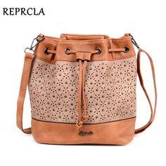 Great Deal $15.60, Buy REPRCLA Brand Designer Bucket Shoulder Bag Vintage Rivet Crossbody Bags for Women Messenger Bags Hollow Out Handbags Women Bags