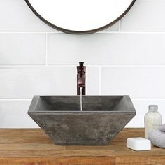 Uriah Square Cast Concrete Vessel Sink - Natural – Magnus Home Products Bathroom Red, Steam Showers Bathroom, Bathroom Interior, Modern Bathroom, Master Bathroom, Tile Bathrooms, Cozy Bathroom, Design Bathroom, Contemporary Bathrooms