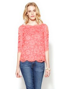 3/4 Sleeve Lace Boatneck Top by The Letter at Gilt