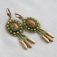 Bead embroidery earrings for women seed bead earrings long