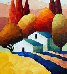 Landscape Art, Landscape Paintings, Art N Craft, Naive Art, Painting Inspiration, Art Pictures, Watercolor Paintings, Cool Art, Art Projects