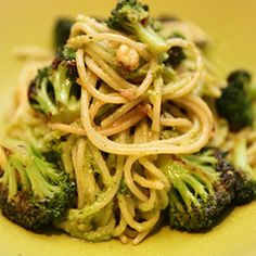 Spaghetti with Fried Broccoli, Kale & Hazelnut Pesto by Georgina O'Sullivan. | A fresh delicious version of the Italian favourite - pesto and pasta.  Why not make extra pesto for another day - it's great with grilled chicken or fish.