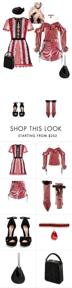 """Elizabeth Coralie & Eliana Luciana #9020"" by canlui ❤ liked on Polyvore featuring self-portrait, Robert Clergerie, Alexander McQueen, Rosantica, Alexander Wang, Bertoni, velvet and selfportrait"