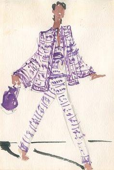 Fashion illustration by Joe Eula (1925-2004), ca 1980, Halston.