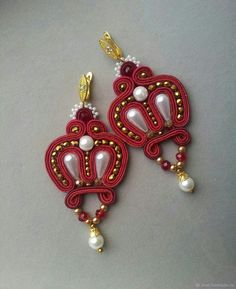 Купить Серьги - Короны в интернет магазине на Ярмарке Мастеров Bead Embroidery Jewelry, Beaded Embroidery, Soutache Earrings, Fashion Earrings, Pendants, Beads, Bracelets, Handmade, Style