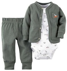 Carters Baby Boys 3 Piece Cardigan Set Baby  Olive  9M -- Want to know more, click on the image.