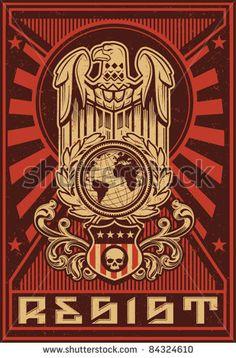 Eagle Globe Propaganda Poster - stock vector