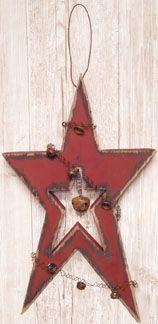 Prim Christmas Star Wooden Door Hanger- would be simple to make