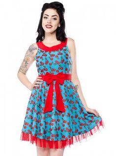 Sourpuss Cherry Cobbler Dance Dress Retro Vintage Rockabilly Pin Up Dance Dresses, Fall Dresses, Satin Dresses, Summer Dresses, Fudge, Sourpuss Clothing, Skull Dress, Punk Dress, Cherry Dress