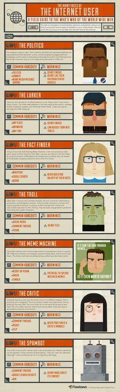 Um infográfico que mostra as várias faces do usuário da web