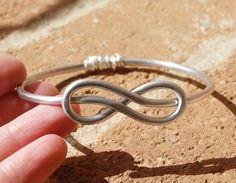 Infinity Knot Bangle, Silver aluminum, Wire jewelry. $27.00, via Etsy.
