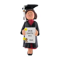 Lots of hard work and dedication went into her graduation day. Commemorate it with this special graduation ornament. Let us personalize it to make it the perfect gift. Old World Christmas Ornaments, Christmas Decorations, Graduation Ornament, College Graduation Gifts, Hard Work And Dedication, Personalized Ornaments, Brown Hair, Blonde Hair, Female
