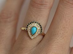 Turquoise Engagement ring, Bohemian Engagement Ring, Boho Engagement Ring, Pear Engagement Ring, Double Crown Engagement Ring