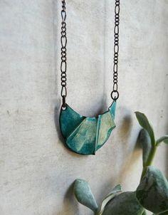 Crescent Moon Turquoise Copper Enamel Pendant by LaFreeBoheme