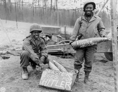Cpl. William E. Thomas and Pfc. Joseph Jackson prepare a surprise for German troops on Easter morning, 1945.  A Daily Dose from Michigan Toy Soldier & Figure Co. 19april2014 www.michtoy.com