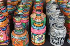 Bottles painted with scenes from mythology. India.