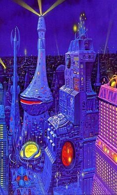 by Angus McKie. -Illustrations by Angus McKie. - The World of Null A, A. Van Goyt // Bruce Pennington What Lies Beyond Arte Sci Fi, Sci Fi City, 70s Sci Fi Art, Arte Tribal, Classic Sci Fi, Retro Futuristic, Futuristic Architecture, Science Fiction Art, Science Art