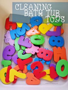 Cleaning Bath Tub Toys - 2 methods. Do you know how easy it is for gunk to grow on bath toys?  Eww.  On my to-do list pronto!