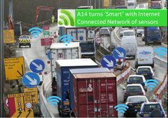 A14, one of the UK's most congested highways, is the first internet connected road. As part of pilot project, sensors are placed along a 50-mile stretch of the A14 creating a smart road which can monitor traffic and send this information to a central traffic control system. City Information, Smart City, Control System, Monitor, Pilot, Connection, Cities, City, Remote
