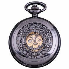 AMPM24 Vintage Mechanical Skeleton Pocket Watch Dark Silver AMPM24. $43.99