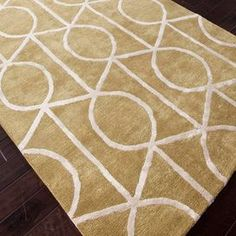 Hand-tufted wool and art silk rug with lattice motif.  Product: RugConstruction Material: Wool and art silkColor: