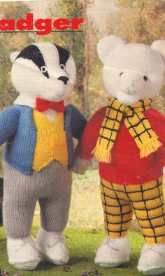 Rupert bear and Bill Badger Toy, Knitting Pattern PDF instant download , Rupert Bear, Bill Badger, from woman's weekly magazine 1995 by EdithCrafts on Etsy