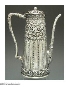 Tiffany, C 18, New York, Aesthetic Movement, Hip Workout, American, Antique Silver, Tea Pots, Glass Art