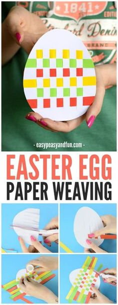 Preschool Cute Easter Egg Paper Weaving Craft for kids to make this spring! Great for working. , Preschool Cute Easter Egg Paper Weaving Craft for kids to make this spring! Great for working. Easter Arts And Crafts, Easter Egg Crafts, Bunny Crafts, Paper Crafts For Kids, Crafts For Kids To Make, Easter Eggs, Easter Activities For Kids, Toddler Preschool, Easter Table