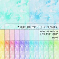 Watercolor Scrapbooking background. 3600x3600 Seamless.  SALE! Seamless Watercolor Papers, Digital Papers, Background, Clipart Texture Pack Wallpapers Backgrounds Clip art, pink, blue, pastel paper by LinePush on Etsy