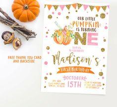 Pumpkin invitation pumpkin birthday pink and by Kattygoodparty