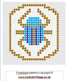 Ancient Egyptians prized the scarab beetle as a symbol of the circle of life, and many amulets in its shape have been found. We have a scarab fusebead design to print and make here. Fuse Bead Patterns, Perler Patterns, Loom Patterns, Beading Patterns, Cross Stitch Patterns, Cross Stitches, Egyptian Crafts, Ancient Egyptian Jewelry, Fuse Beads