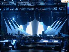 Special production stage idea // Stretch lycra over frame or with strings, light up behind it.