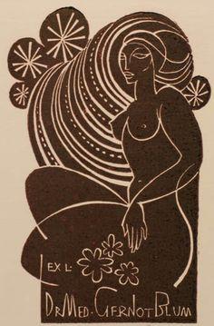 Art by Ladislav Rusek, Dr. Gernot Blum's ex libris, Czech Republic, Linocut. iL