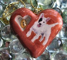 OOAK Handcrafted Bull Terrier Puppy Dog Clay/Resin Pendant/Cord by Bren