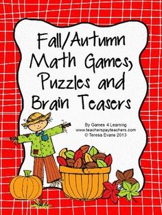 Fall/Autumn Math Games, Puzzles and Brain Teasers from Games 4 Learning. It is loaded with Fall math fun for the classroom or for kids to take home. It includes printable Fall/Autumn math board games, printable Fall/Autumn math puzzle sheets and Fall/Autumn math brain teaser cards. $