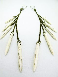 Shoulder Duster Earrings / Long Spike Earrings / by Chrysalism. Make these as is or with fewer dangling stones