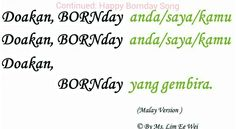 Continued Happy Bornday -UPDATE Malay Version Lyric only. https://youtu.be/Q-w3FRonJ88 Date Create: 3.16.Date published: 14.3.16. #Copyright #lxl #blessing #blessingyou #Happybornday #happy #bornday #bornhotel #born #誕生天 #诞生天 #doakan #birthday #song #music #mp3 #video #lyric #entertainment #malaysia #malay #born-net #plantton #植龐