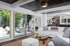 family room with sliding doors and great ceiling