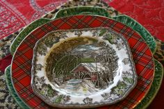vignette design: For The Love Of Transferware And A Giveaway! Christmas Table Settings, Christmas Tablescapes, Christmas Centerpieces, Holiday Tables, Christmas Decorations, Vignette Design, Christmas China, Tartan Christmas, Christmas Dishes