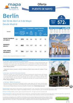 Berlin Puente de Mayo salida Madrid **Precio Final desde 572** ultimo minuto - http://zocotours.com/berlin-puente-de-mayo-salida-madrid-precio-final-desde-572-ultimo-minuto-2/