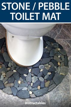 Mimikry created this toilet or bathroom mat out of found stones and pebbles. #Instructables #workshop #home #decor #nature